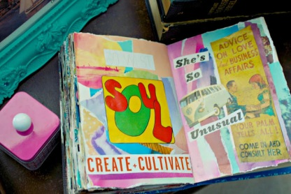 collage art journal brooke gibbons charlotte create cultivate fortune teller vw bus vintage