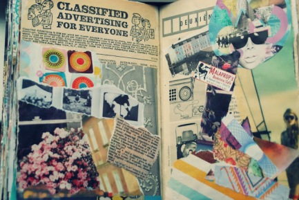 collage spread_classifieds art journal brooke gibbons