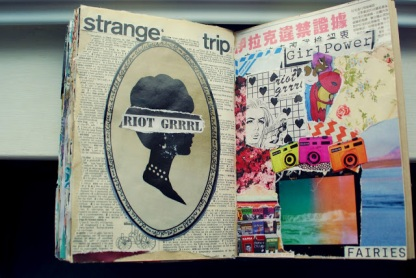 strange trip girl power collage journal art brooke gibbons