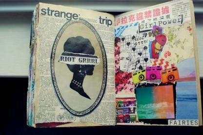 strange trip girl power collage journal art brooke gibbons