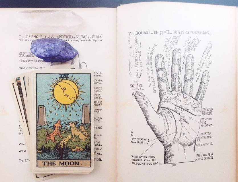 brooke gibbons october halloween vintage palmistry book tarot cards