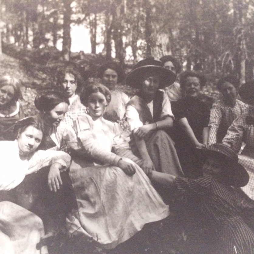 vintage black and white photography ladies womens group creepy